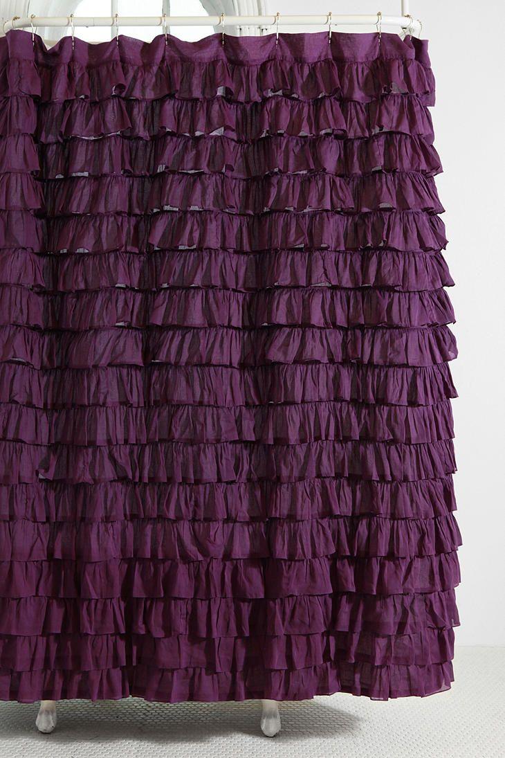 Waterfall Ruffle Shower Curtain Ruffle Shower Curtains Purple