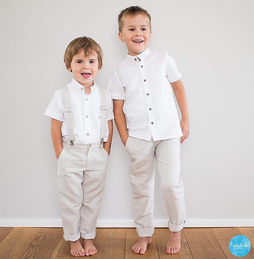 Jungen Mädchen lange Sommer-Hose 74 80  122 weiß gestreift Baumwolle Twill