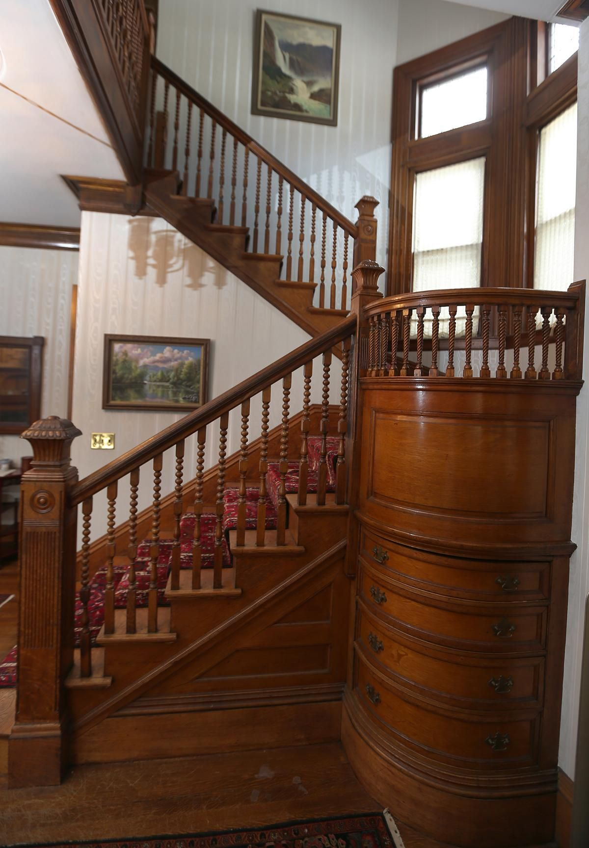 15 Interior Design Ideas For A Victorian Themed Home: Victorian Carved Staircase With Handy But Beautiful Storage