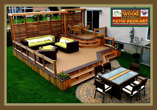 Patios bois modele design plan ipe deck cedre trex for Patio exterieur en bois
