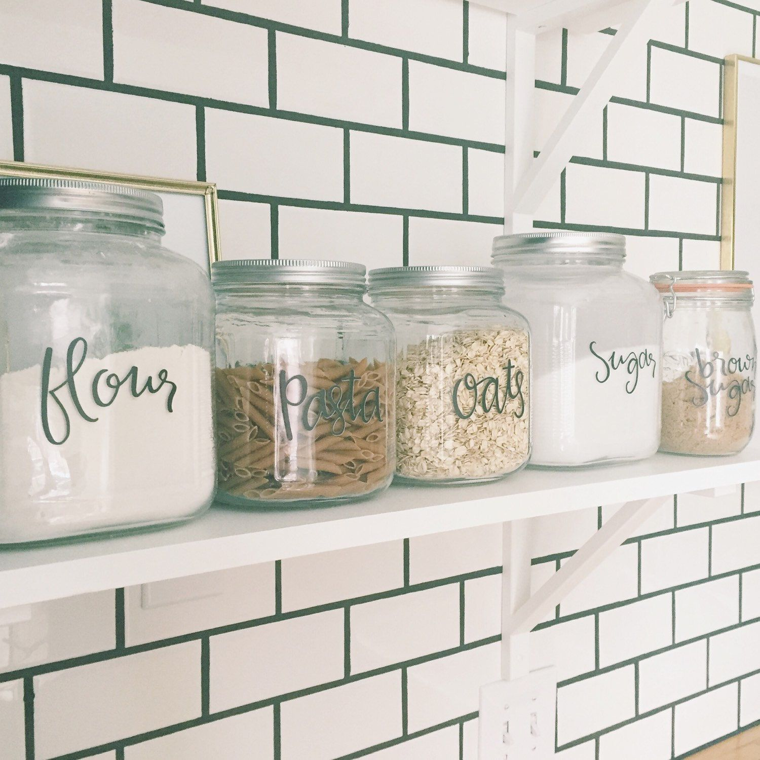 Kitchen Shelf Labels: Kitchen Canisters Labels In My Kitchen On My Open Shelving In Front Of White Subway Tile With