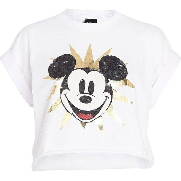 River Island White Mickey Mouse print cropped t-shirt ($10) ❤ liked on Polyvore featuring tops, t-shirts, shirts, crop tops, crop, sale, crop t shirt, mickey mouse shirt, short t shirt and crew neck shirt