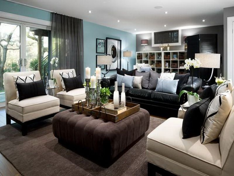 Superior Basement   Living Room Decorating Ideas   Decorating Around A Black Leather  Couch