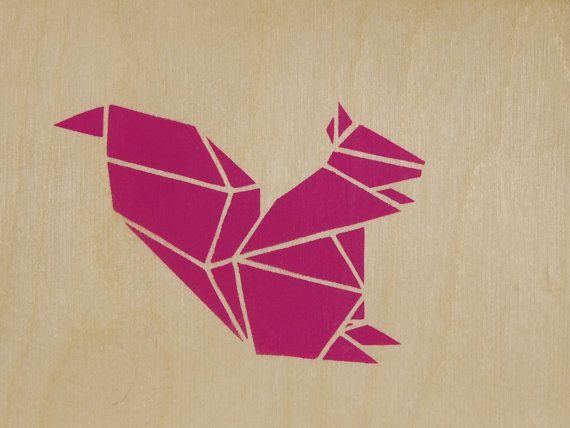 Love Birds, Origami Birds On Plywood, Original Stencil Art