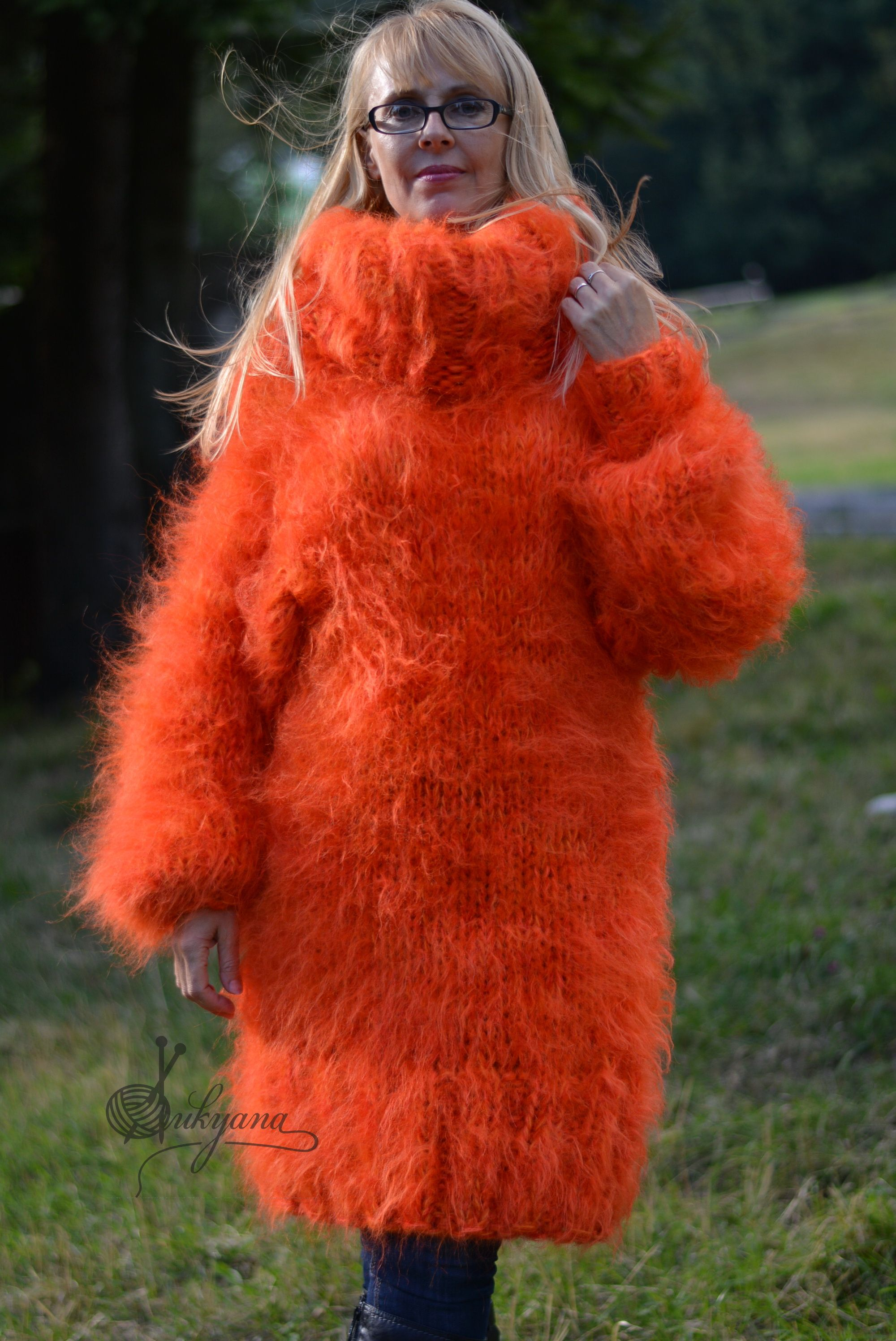 chunky and fuzzy orange mohair sweater with huge Tneck | Dukyana ...