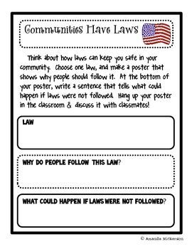 Communities Have Laws: A Poster Project | 3rd grade social ...
