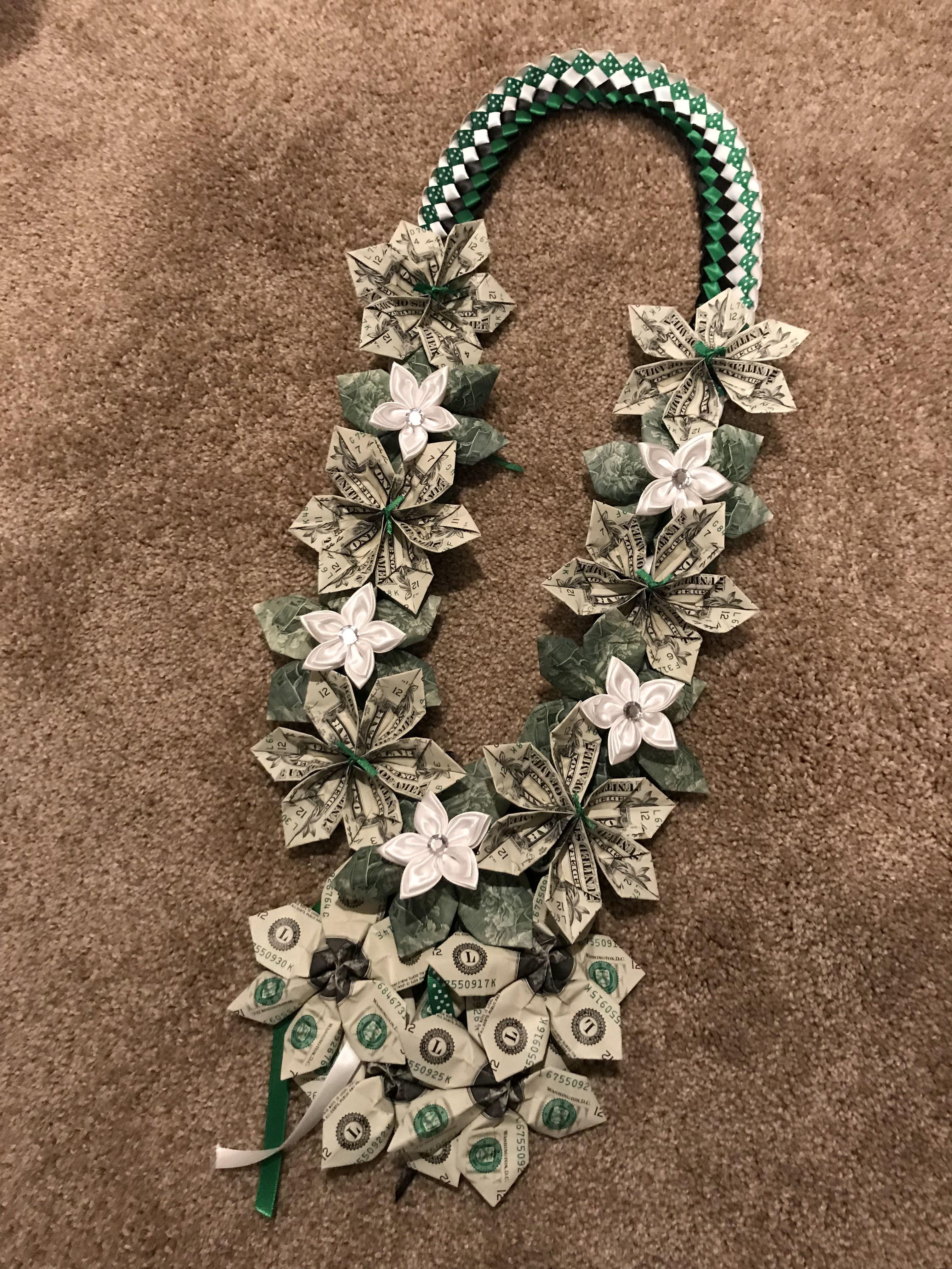Double Ribbon Money Flower Lei Leis Money T Ideas