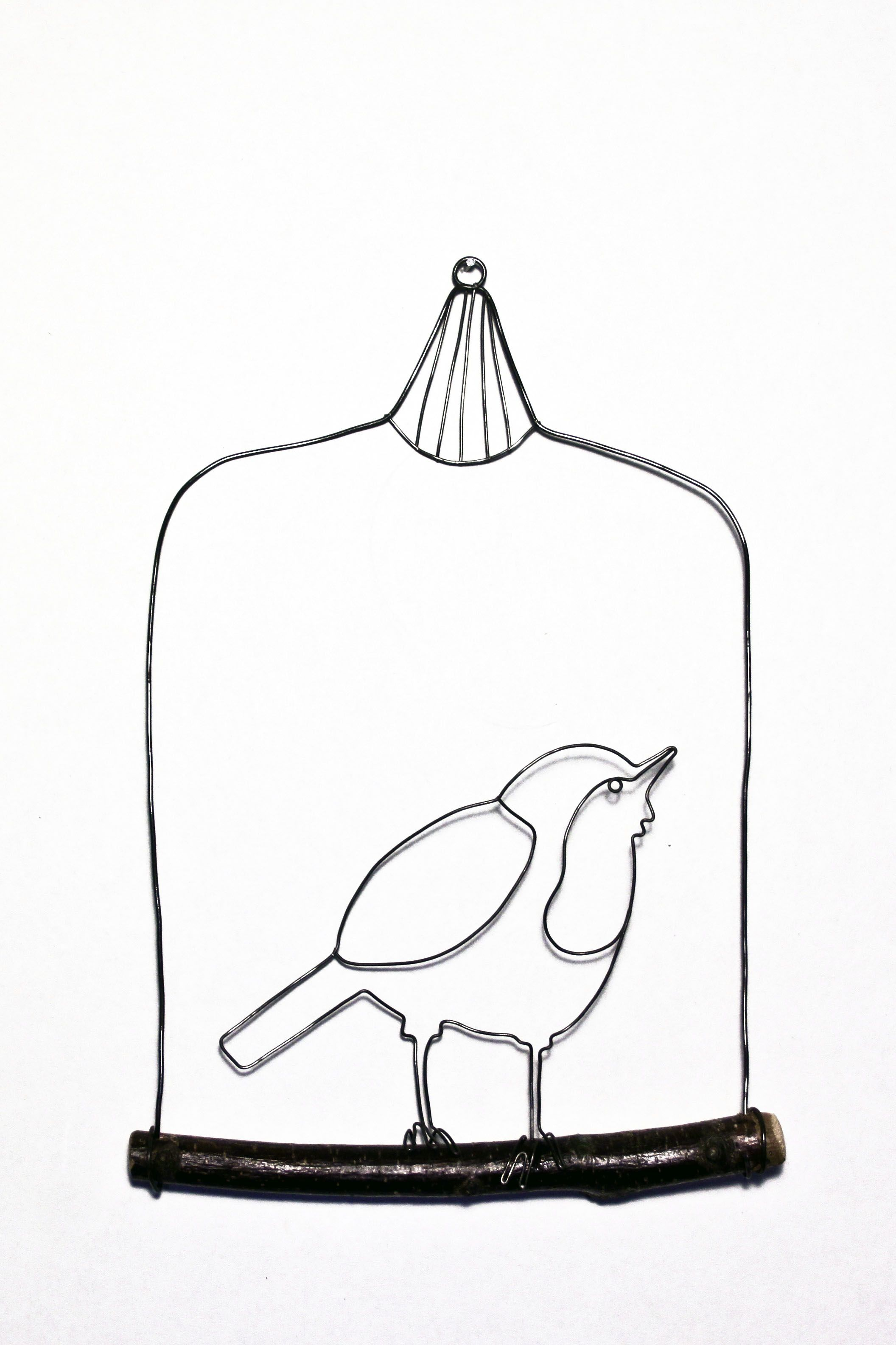 Little Wire Bird In A Cage Handmade By Hayley Dix