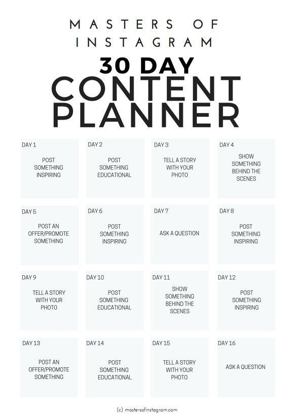30 Day Instagram Content Planner by Masters of Instagram on Creative Market