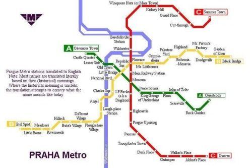 Prague Metro Stations Translated Into English Metro Station