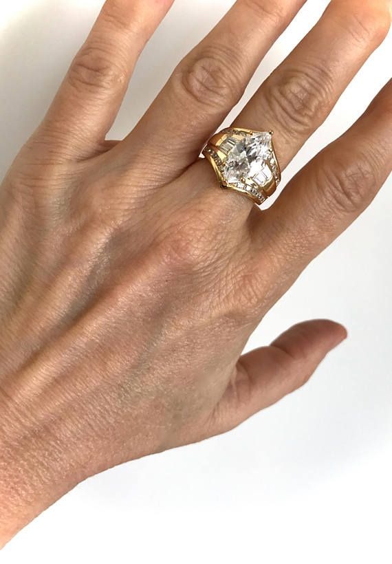 Vintage Gold Vermeil Marquise Baguette And Pave Estate Ring Multi Stone Right Hand Ring White Stone Right Hand Rings Estate Rings Rings