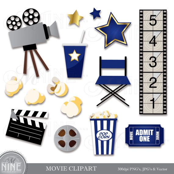 MOVIE Clip Art BLUE Digital Clipart Instant By MNINEDESIGNS
