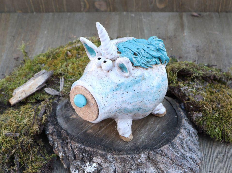 Unicorn Piggy Bank Pottery Whimsical Blue Unique Money Holder Home Decor Fun Child Gift Ceramic Gypsy