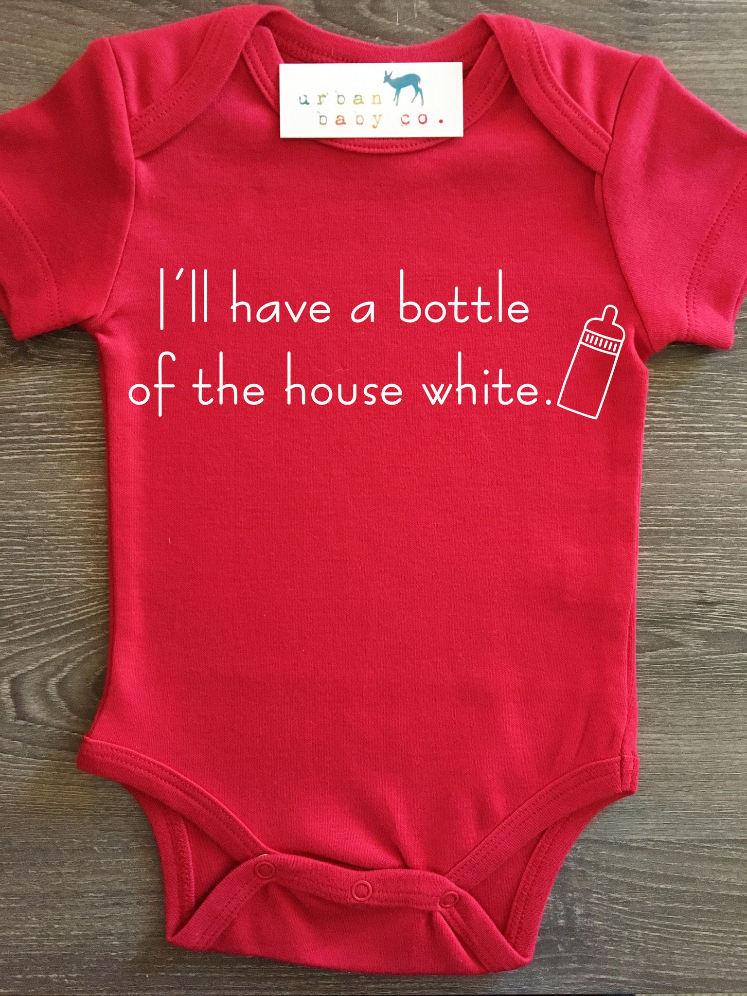 Bottle of House White Unisex Cotton Baby One Piece Funny Romper Gift Boy Girl