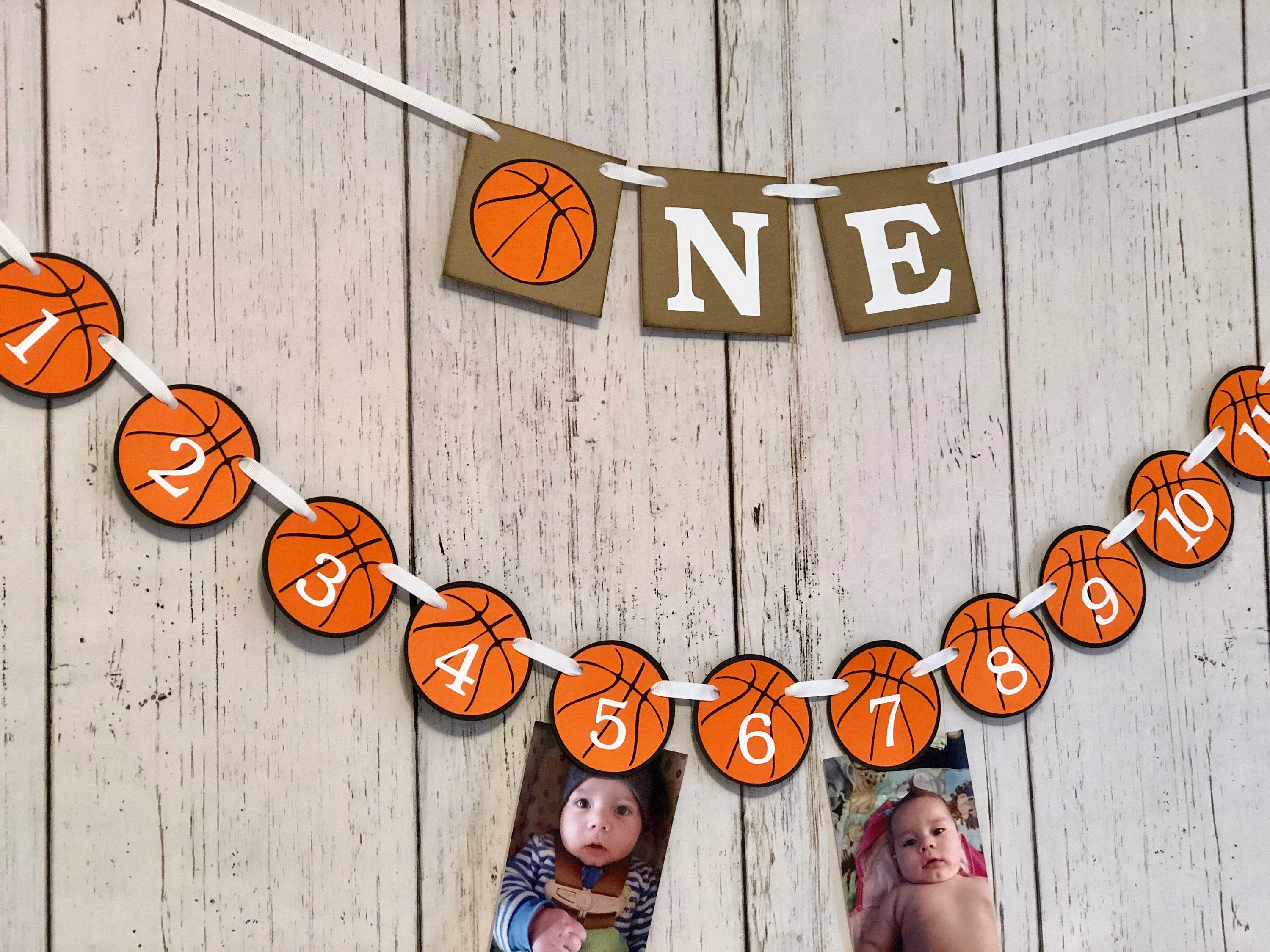 Basketball First Birthday Decorations Basketball Birthday Backdrop Sports First Year Photo Banner One High Chair Decor Rookie Year Banner In 2020 First Birthday Decorations Birthday Backdrop Photo Banner