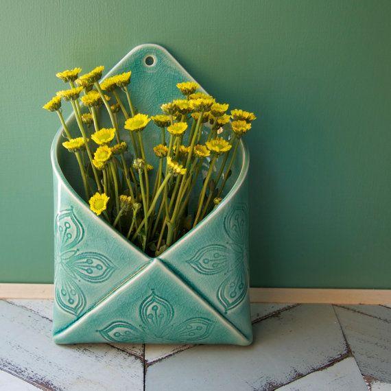 porcelain envelope wall vase by potteryandtile on Etsy