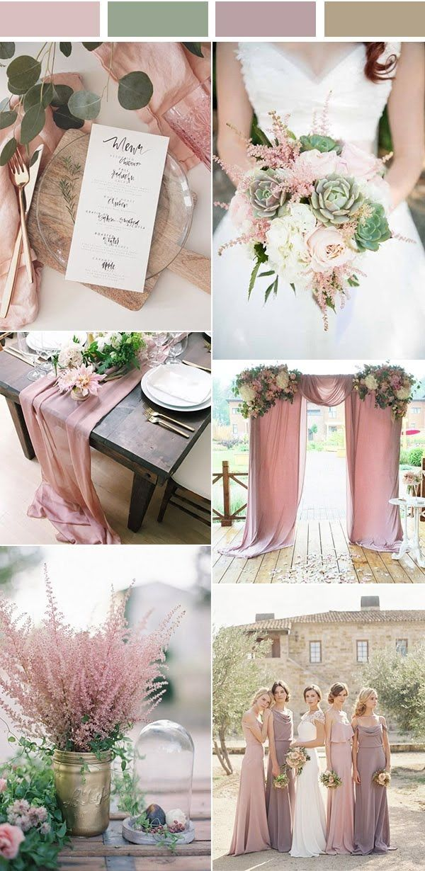 Dusty Rose Pink And Green Wedding Color Inspiration Blush Greenery Palette For 2018 Decorations On A Budget