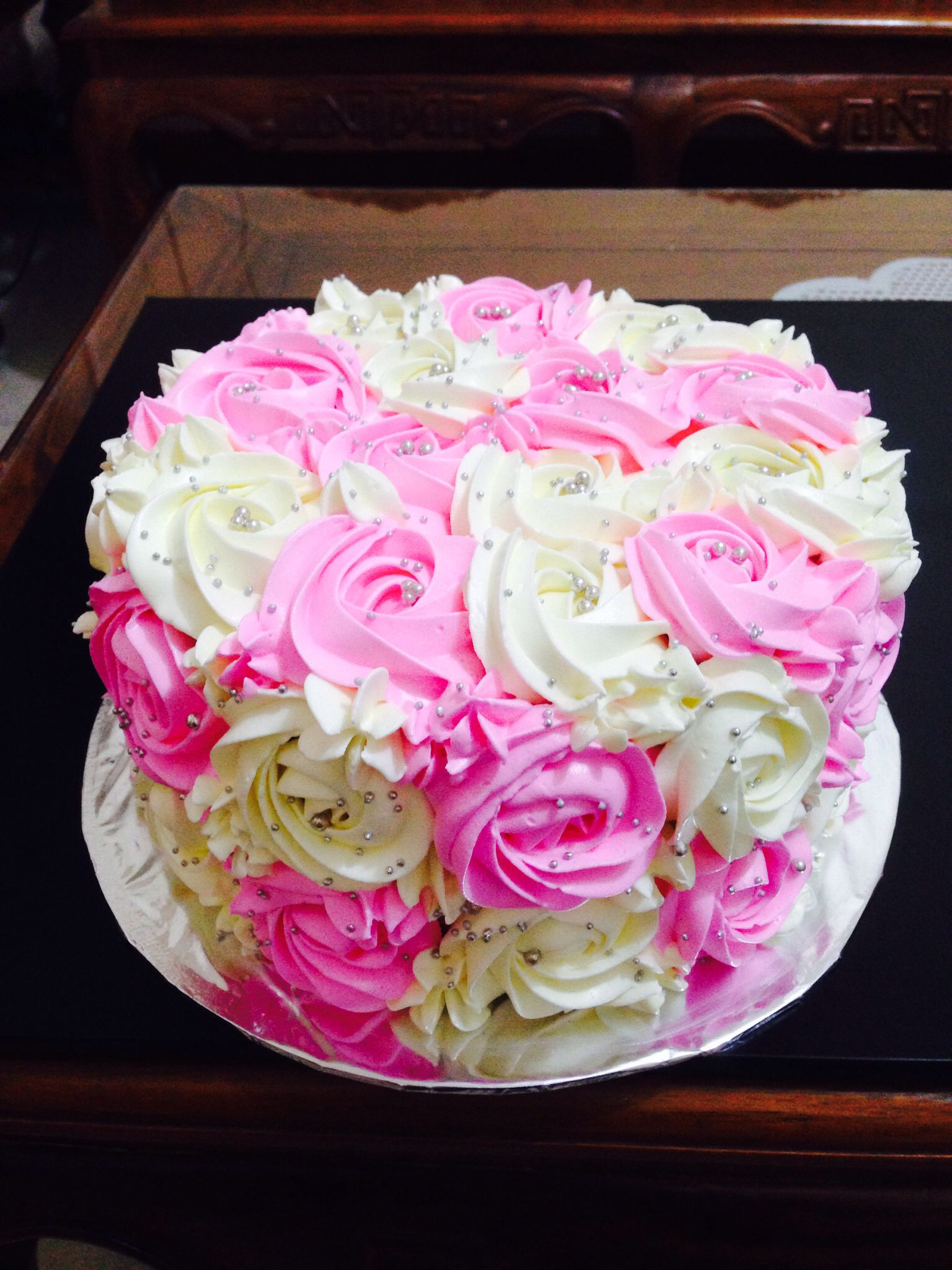 Birthday Cake Images For Aunt : Two Tone Rosette Birthday Cake for Beautiful Aunt Poppy ...
