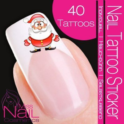 Amazon.com: Nail Tattoo Sticker Christmas / Xmas - Santa Claus