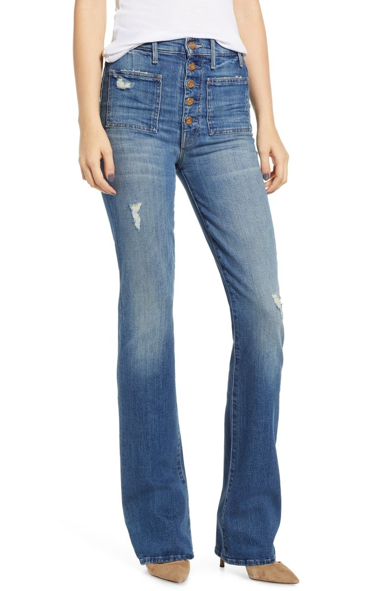 f4c8474017f Free shipping and returns on MOTHER The Hustler Patch Pocket High Waist  Jeans (Natural Born
