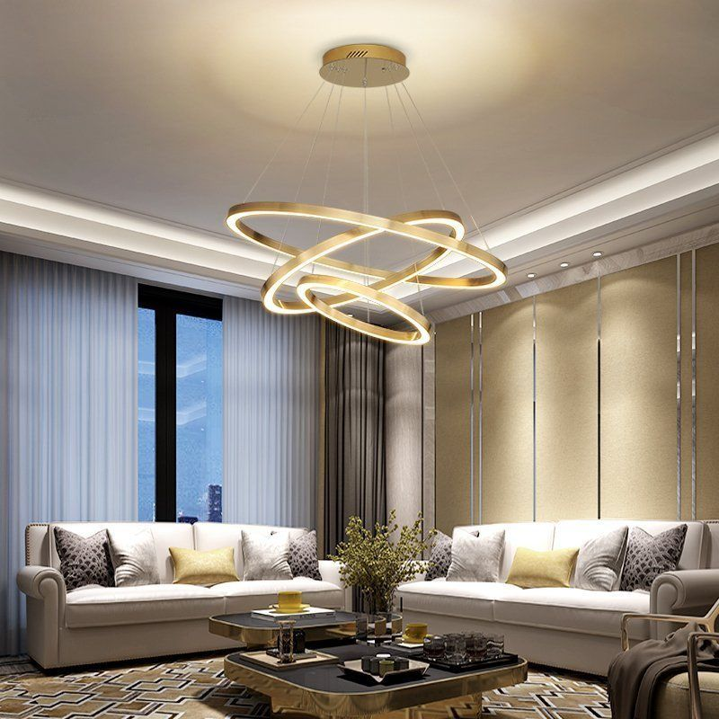 Nordic Modern Luxury Large Gold Ring Shaped Decorative Chandelier