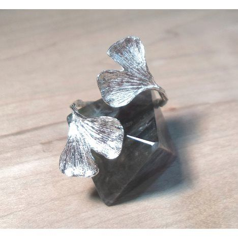 Double Wrap Ginkgo Leaf Sterling Silver Statement Ring-Open ring, open end ring - 11 Main
