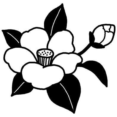 ツバキ2ツバキウメ椿梅冬の花無料白黒イラスト素材 椿の