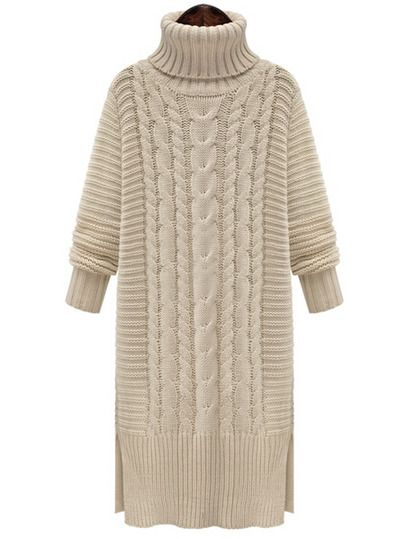 White High Neck Cable Knit Split Sweater Dress -SheIn(Sheinside) Mobile Site