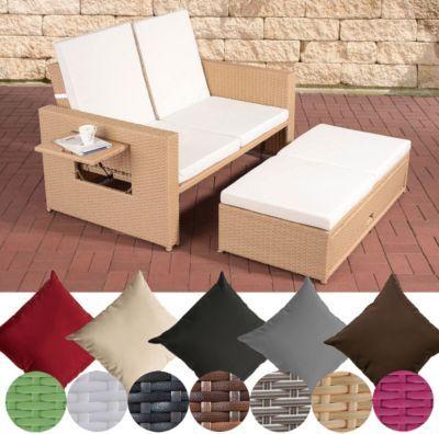 flexibles Poly-Rattan 2er Lounge-Sofa ANCONA, ALU-Gestell ...