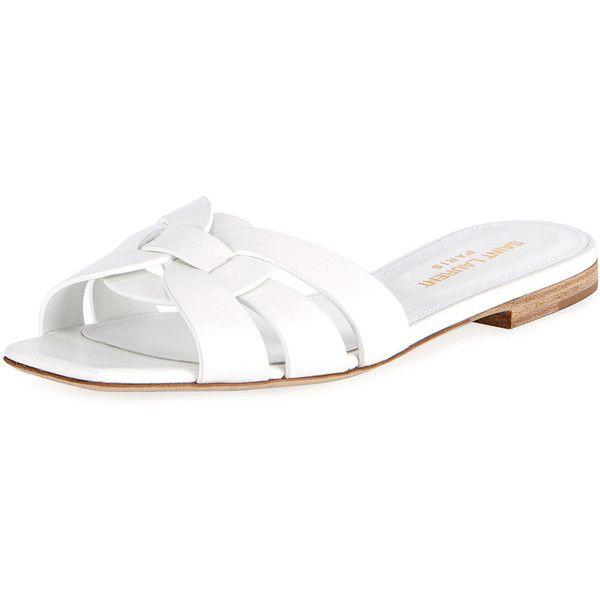 213a6798e Saint Laurent Nu Pieds Flat Slide Sandal (1.860 BRL) ❤ liked on Polyvore  featuring