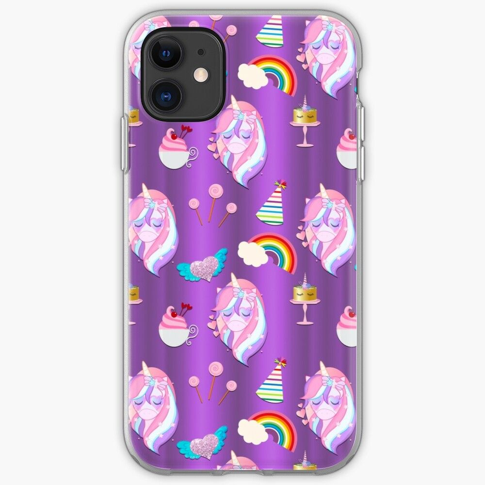 Cute pink unicorn party on purple iphone case cover in