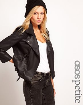 ASOS PETITE Leather Look Quilted Biker Jacket | Leather jackets ...