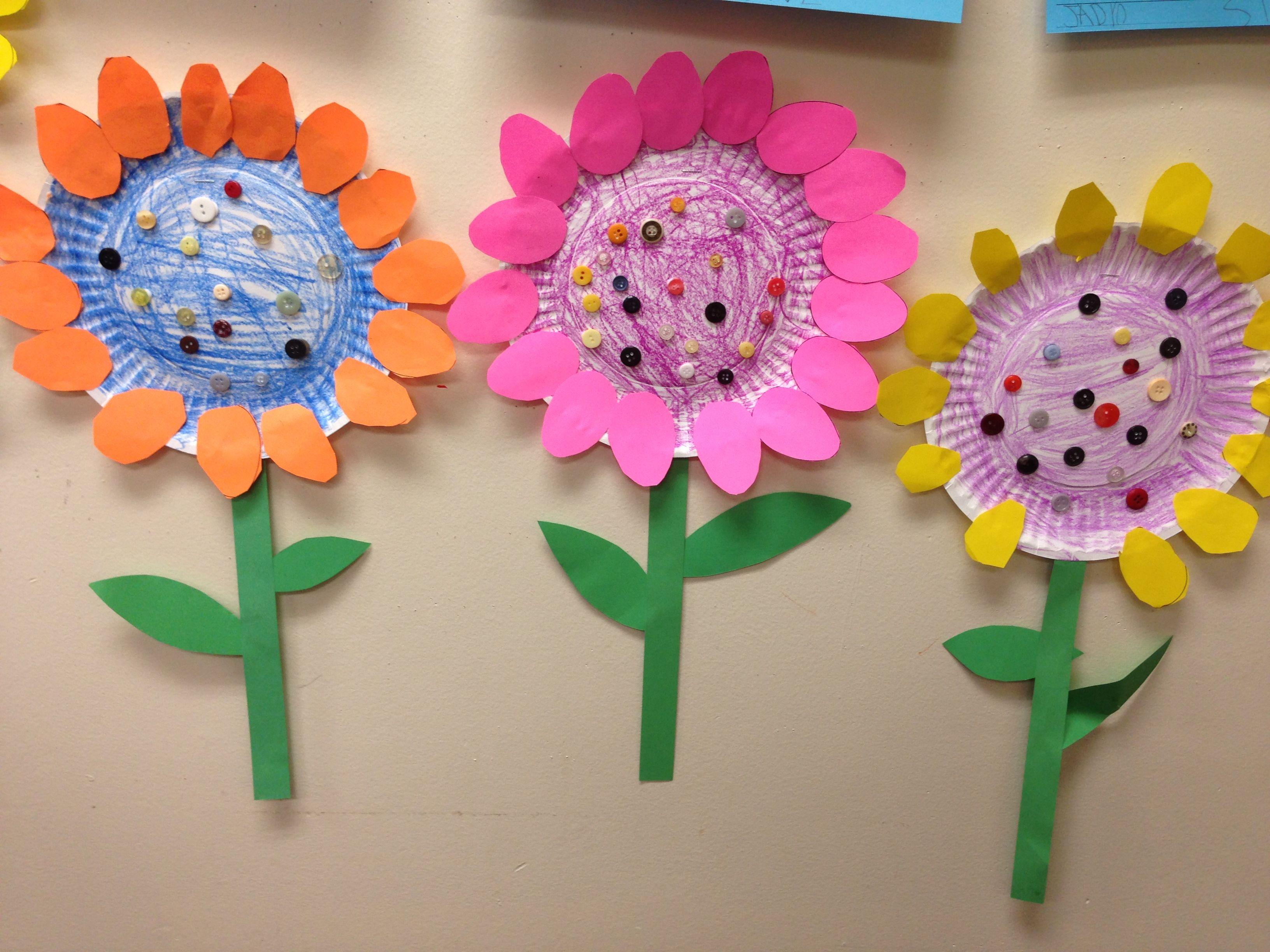 Blumen Aus Pappteller Kinderquatsch Pinterest Flowers Crafts
