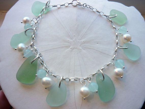 Sea Glass Charm Bracelet Sterling Beach Seaglass Pearls Sea foam