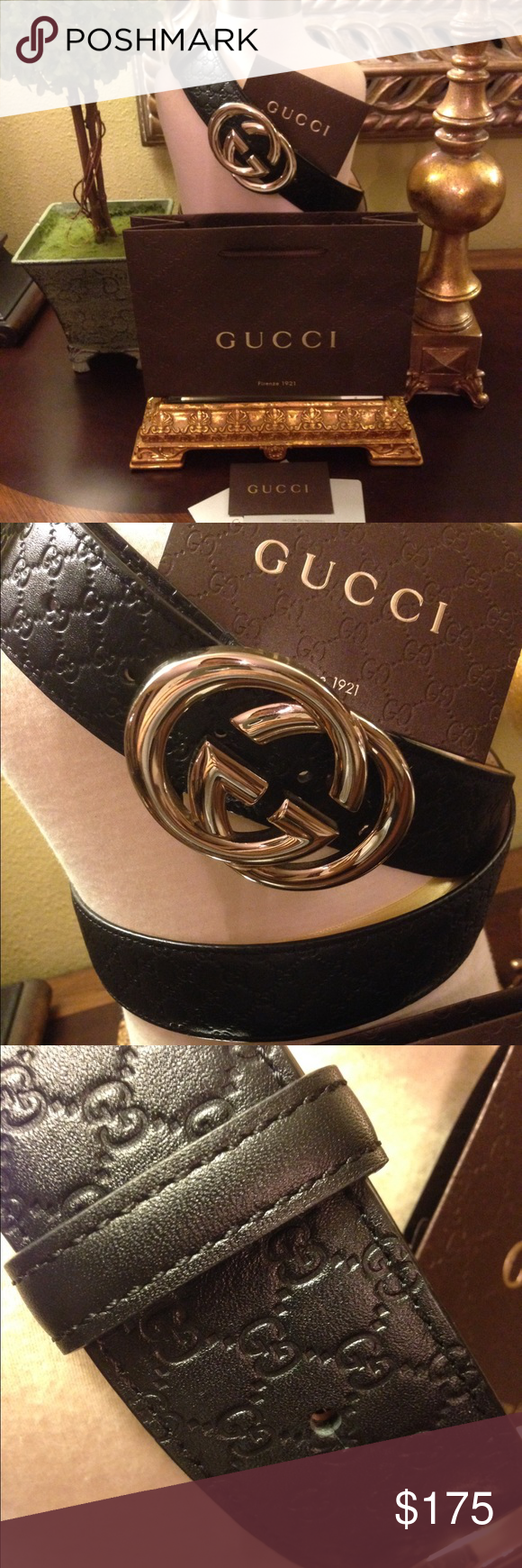 Authentic Gucci Guccissima Belt Authentic Gucci Guccissima Belt with Interlocking G, Gold Buckle, Black Leather, In Excellent Condition, Serial#1149840959 105 42, w/Gucci Bag and Certificate Gucci Accessories Belts