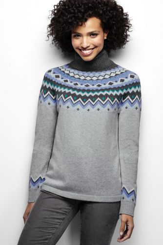 Women's Fair Isle Merino Wool Blend Turtleneck Sweater from Lands ...