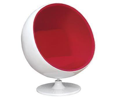 Attirant Round Egg Chair In Red