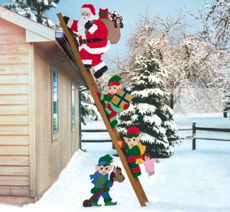 All Christmas Climbing Claus Elves Pattern Combo Christmas Yard Art Wooden Christmas Decorations Outdoor Wooden Christmas Decorations
