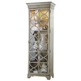 """Brimming with classic style and timeless charm, this refined design brings lasting appeal to your home.Product: Display cabinet    Construction Material: Hardwood solids, glass and MDF    Color: Silver    Features: Two doors with elegant trellis designThree wood framed glass shelvesTwo full wood shelves  Dimensions: 84"""" H x 30"""" W x 18"""" D         Shipping: This item ships with our Inside Delivery and Assembly Service, so you will receive a call after the item ships to set up a time for…"""