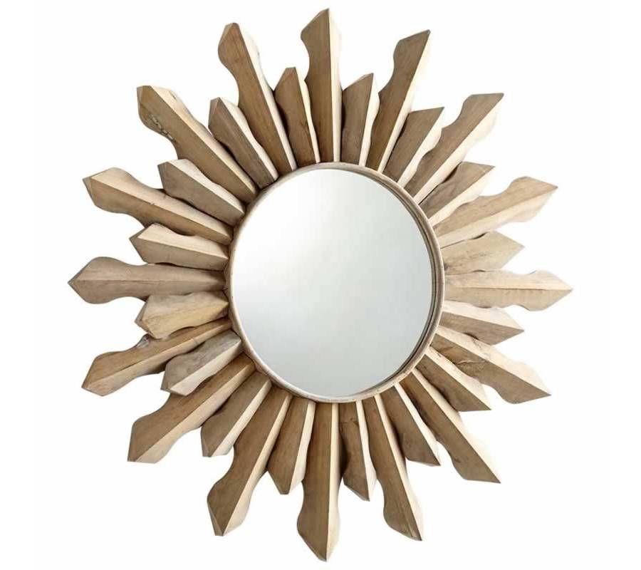 Large White Washed Wood Sunburst Wall Mirror With Images