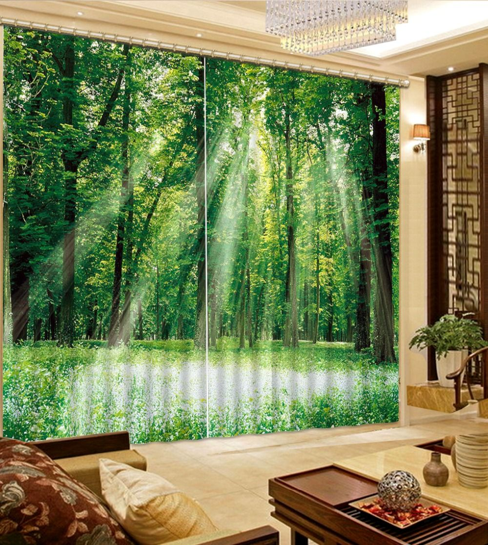 custom modern 3d curtains Sunshine woods landscape curtains for living room  kitchen blackout curtains window curtains