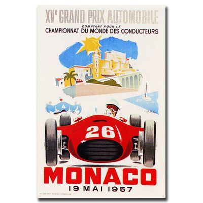 Trademark Art 'Monaco 1957 II' by Unknown Framed Vintage Advertisement on Wrapped Canvas