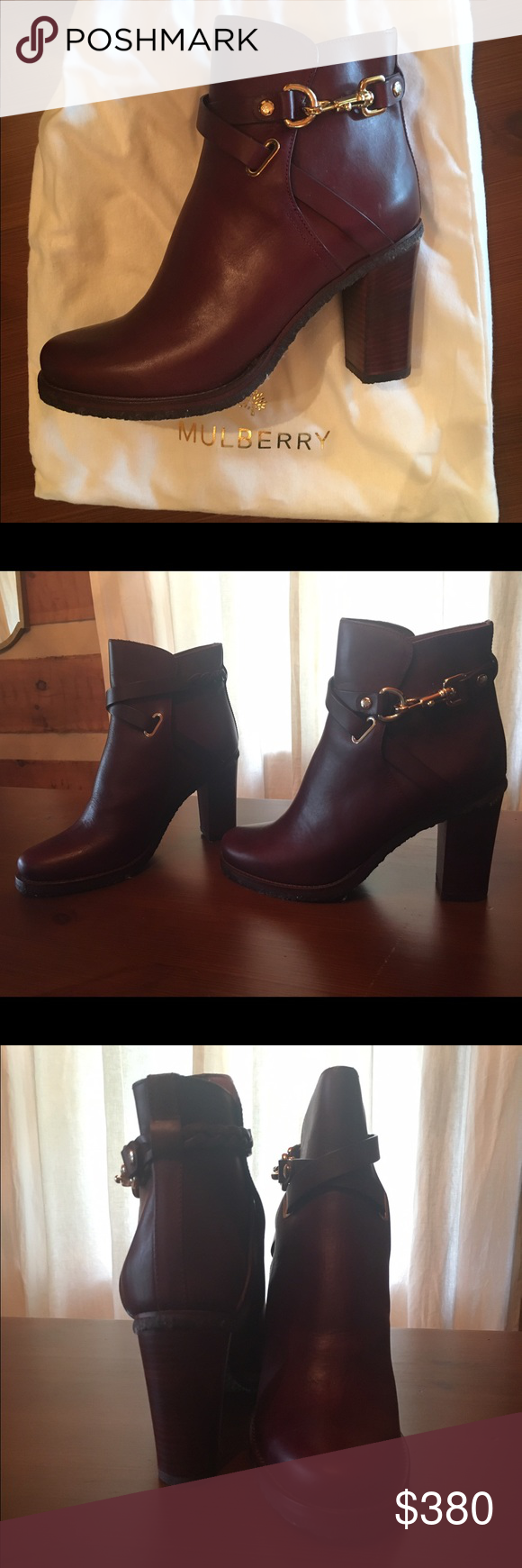 Mulberry Oxblood Bootie Oxblood colored bootie with braided detail around the ankle. Never worn and comes with original box and bags. Mulberry Shoes Ankle Boots & Booties