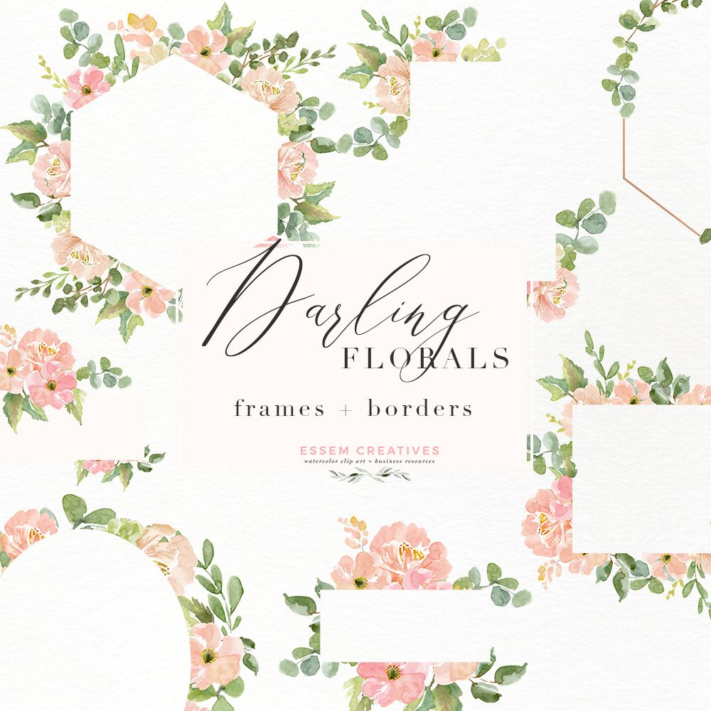 Watercolor Flower Border Clipart, Romantic Blush Peony