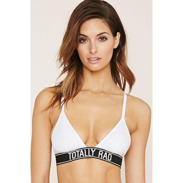 Forever 21 Women's  Totally Rad Bralette (10 AUD) ❤ liked on Polyvore featuring intimates, bras, bralette bras, v neck bra, criss cross bra, forever 21 bras and forever 21