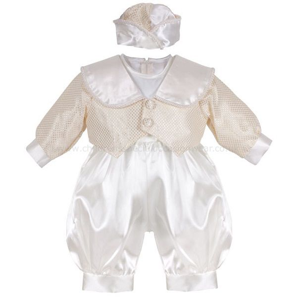 Baby Boys Gold Ivory Christening Outfit 3 Piece Romper Suit With