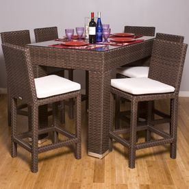International Home Set Of 2 Atlantic Cushioned Wicker Patio Bar Height Chairs Wicker Dining Set Dining Bar Set Tempered Glass Table Top