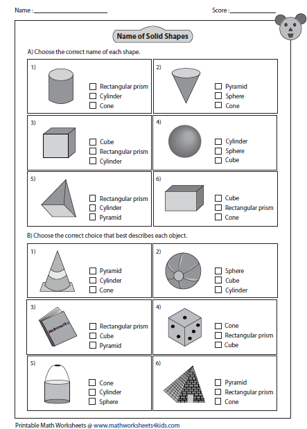 3d shapes worksheets 6th grade
