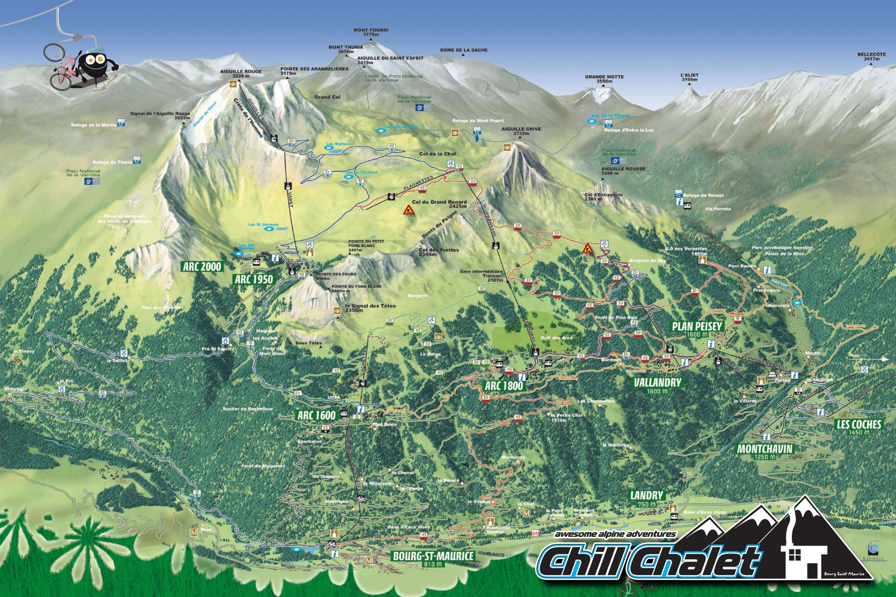 Les Arcs bike map Great mountain biking options back country