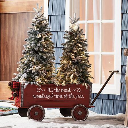 Member S Mark Vintage Wagon And Trees Flocked Sam S Club Cabin Christmas Decor Christmas Tree Farm Vintage Christmas Decorations